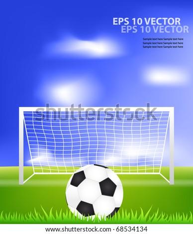 Soccer ball on grass against blue sky. EPS10 vector illustration. - stock vector