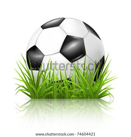 Soccer ball on grass, 10eps - stock vector