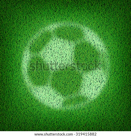 Soccer ball on green grass. Vector illustration. - stock vector
