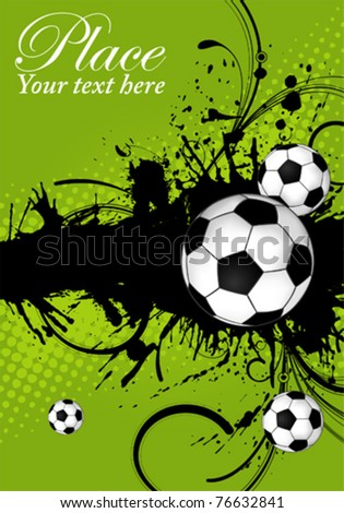 Soccer ball on grunge background, element for design, vector illustration - stock vector