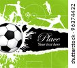 Soccer Ball on Grunge Background with Silhouettes Football Players, poster template, vector illustration - stock vector