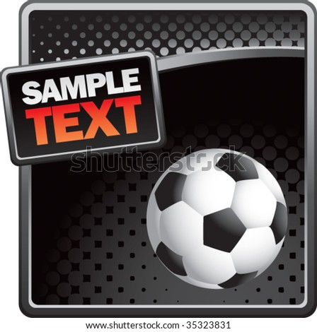 soccer ball on halftone template - stock vector