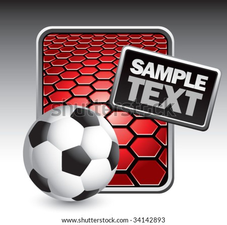 soccer ball on hexagon background - stock vector