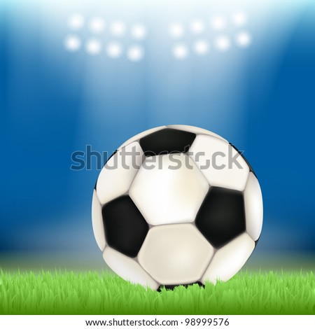 Soccer ball on stadium field grass, illuminated by floodlights - stock vector