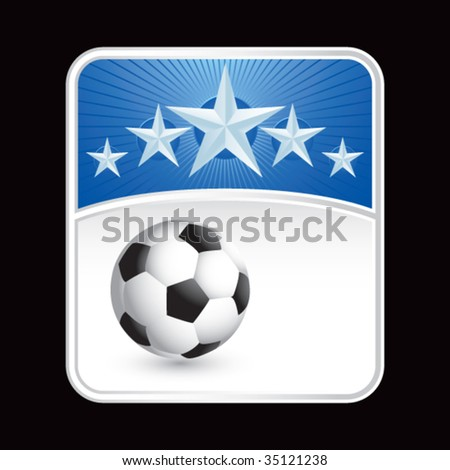 soccer ball on superstar background - stock vector