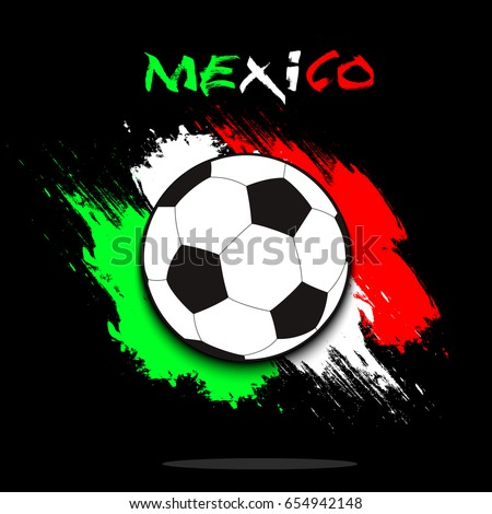 Soccer Ball On Background Mexico Flag Stock Vector 654942148