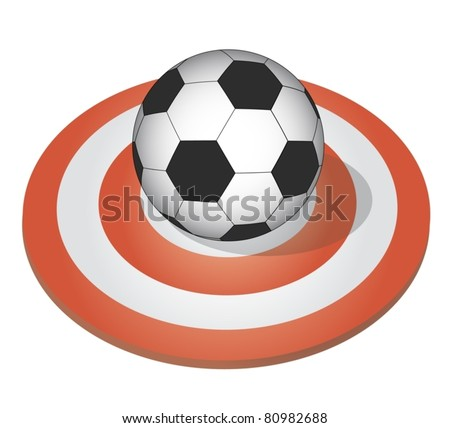 Soccer ball placed on a target - stock vector