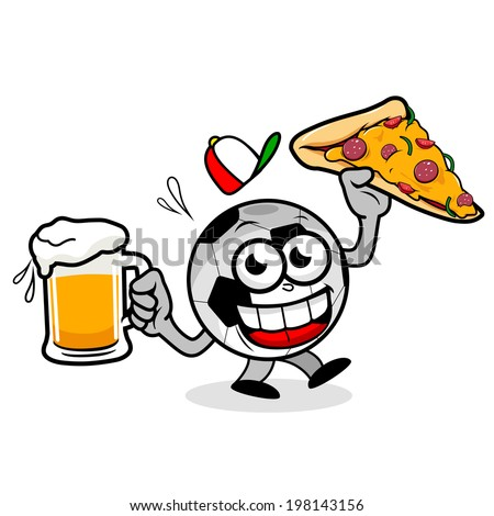 Soccer ball serving beer and pizza. A cartoon football holding a cold beer and a pizza slice. - stock vector