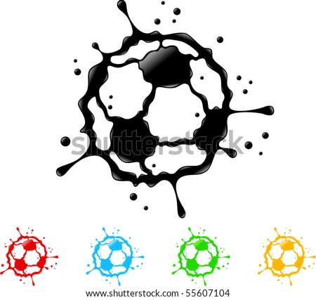 soccer ball splat - vector - stock vector
