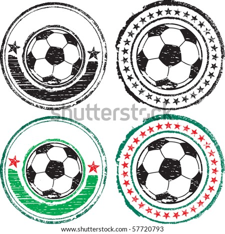 Soccer ball stamps - stock vector