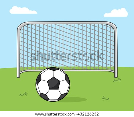 Soccer Ball With Football Gate. Vector Illustration With Background - stock vector