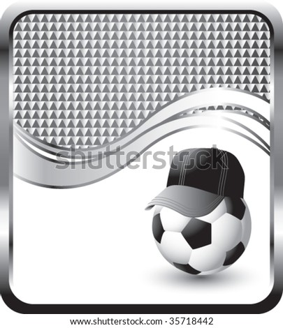 soccer ball with hat on checkered wave background - stock vector