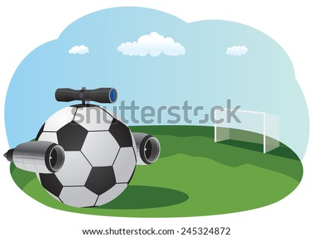 Soccer ball with jet engines and a sniper scope on top - stock vector