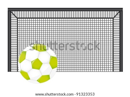 soccer ball with net isolated over white backgroud. vector