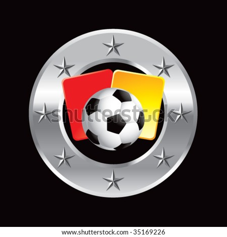 soccer ball with red and yellow cards on star background - stock vector