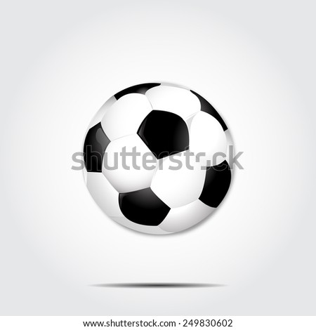 Soccer ball with shadow on a gray background vector - stock vector
