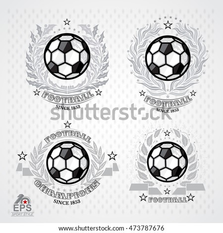 Soccer ball with silver wreath on light background. Set sport logo for any football team