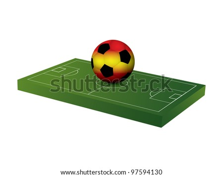 Soccer ball with soccer field - stock vector