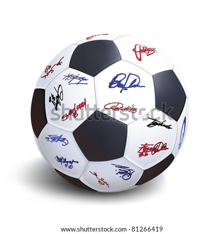soccer ball with various player signatures - stock vector