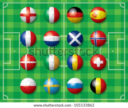 soccer ball with world teams flags - stock vector