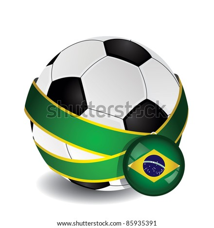 Soccer ball wrapped in medal strap and badge with Brazil flag - stock vector