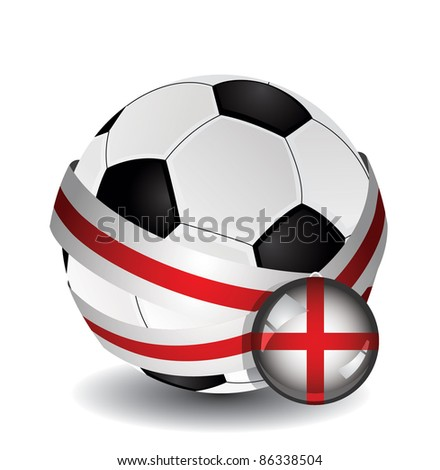Soccer ball wrapped in medal strap and badge with flag of England