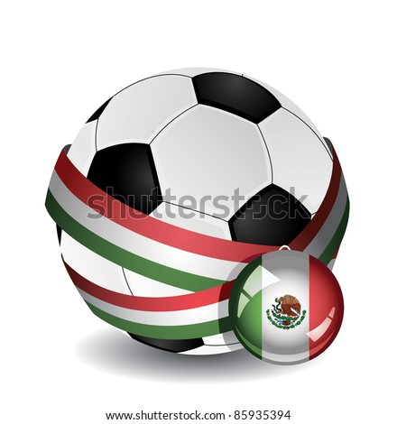 Soccer ball wrapped in medal strap and badge with Mexico flag