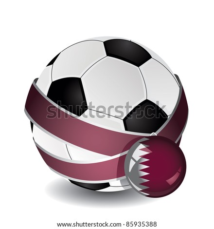 Soccer ball wrapped in medal strap and badge with Qatar flag - stock vector
