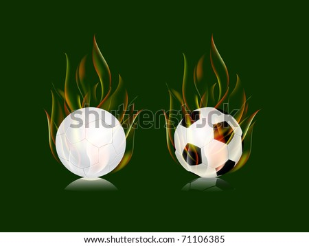 soccer balls in fire flame icon set isolated on green background - stock vector