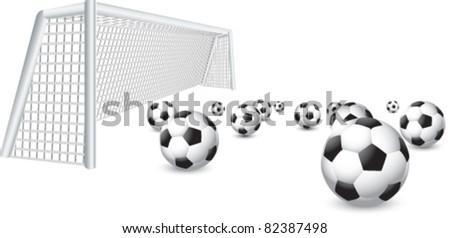 Soccer balls in front of net - stock vector