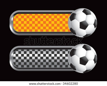 soccer balls on diamond checkered banners - stock vector