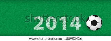Soccer Banner, Simple football on Grass with Text: 2014