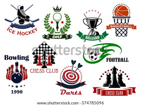 Soccer, basketball, ice hockey, golf, darts, bowling, chess and billiards sport game items, trophies and heraldic symbols. Vector illustration - stock vector