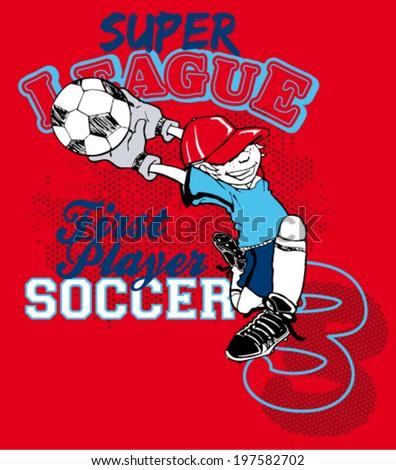 soccer boy cartoon - stock vector