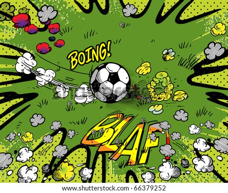 Soccer cartoon background - stock vector