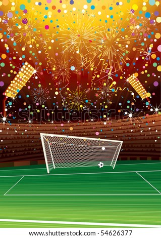 Soccer champions celebrating at stadium-vector background for your text or design - stock vector