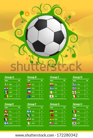 Soccer Championship 2014 Flags - stock vector