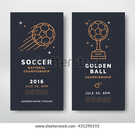 Soccer championship posters design. Line style vector illustration. - stock vector