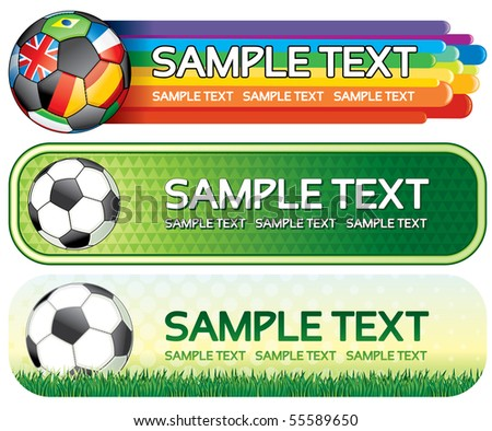 Soccer colorful banners for your design - stock vector