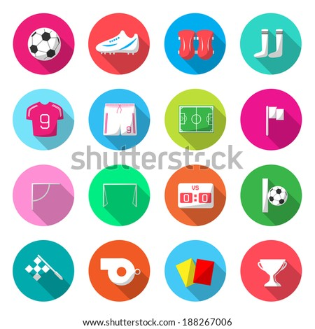 Soccer Colorful Icons Vector. - stock vector