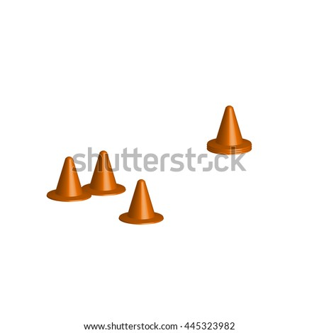 Soccer cones, football training equipment, orange type, before and after train, 3d , vector illustration.