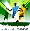soccer design element; green background (vector-illustration); - stock vector