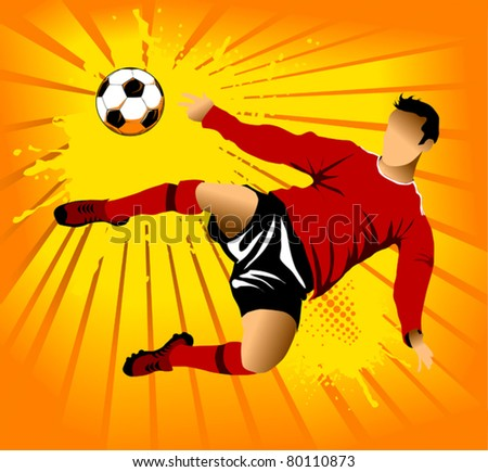 soccer design element, orange background (vector-illustration) - stock vector