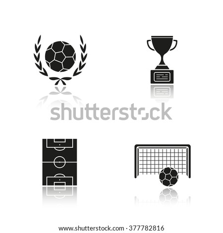 Soccer drop shadow black icons set. Soccer ball and football cup. Soccer field and goal icons. Football stadium. Winner trophy. International team sport. Logo concepts. Vector illustrations - stock vector