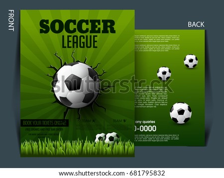 Soccer Event Flyer Template Eps Football Stock Vector
