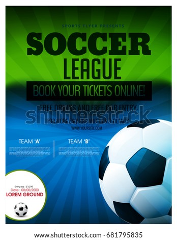 Soccer Event Flyer Template Eps Football Stock Vector Hd Royalty
