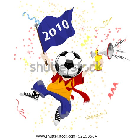 Soccer Fan with Ball Head. Editable Vector Illustration - stock vector