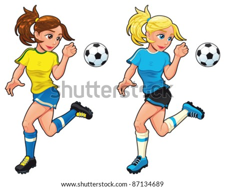 Soccer female players. Vector cartoon and isolated sport characters. - stock vector