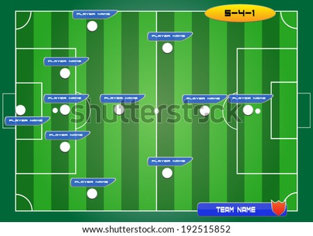 soccer field background with strategy formation tactics 5-4-1 - stock vector