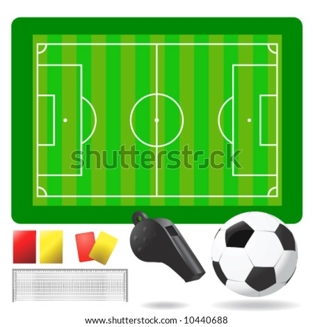 soccer field, ball and objects vector - stock vector